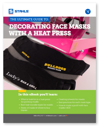 Decorating face masks with a heat press