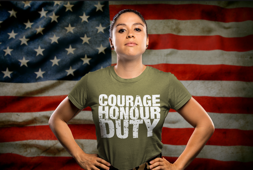 Military woman wearing a courage, honour, duty t-shirt