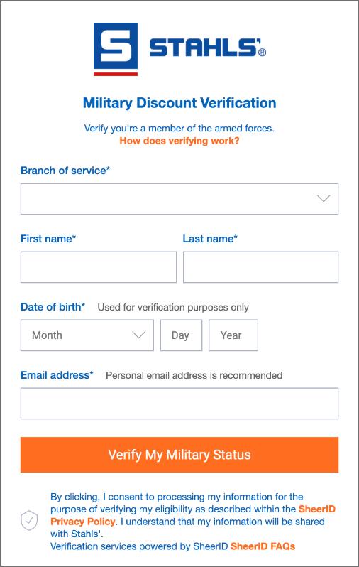 Military discount widget screenshot